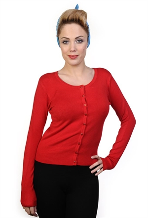 Banned Retro Getaway 50s Classic Style Rockabilly Cardigan in Red
