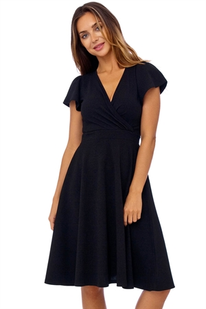 Black Cap Sleeve Crossover Swing Dress