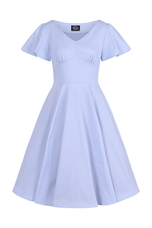 Hearts and Roses Vintage 50's Pastel Blue Retro's Summer Rockabilly Swing Dress