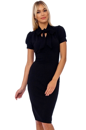 Black Bodycon Bow Tie Neck Pencil Dress