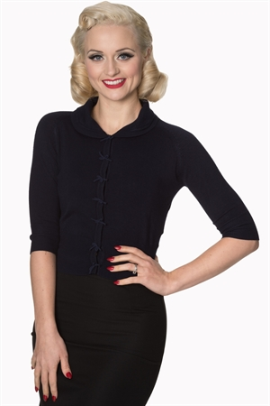 Banned Retro 40's April Bow Rockabilly Plain Peter Pan Collar Vintage Cardigan in Night Navy Blue