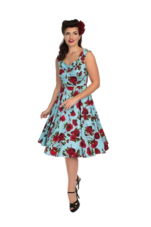 Hearts & Roses Red Rose Rockabilly Swing Dress In Blue