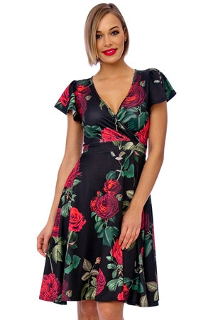 Black Vintage Rose Cap Sleeve Swing Dress