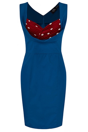 Dolly and Dotty Georgette Wiggle Dress in Blue