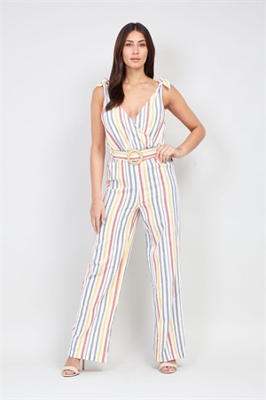 Multicolour 50's VIntage Striped Tie Waist Pinup Jumpsuit in White