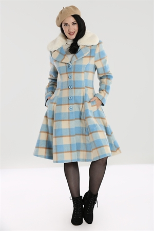 Hell Bunny Vintage Millicent Turquoise Green White Checked Detachable Collar Coat Uk