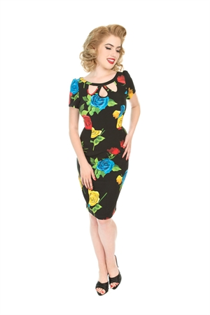 Hearts & Roses 50s Black Mix Roses Floral Wiggle Dress