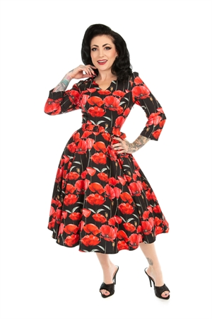 Hearts and Roses 50's Vintage Black Red Poppy Rockabilly Swing Dress