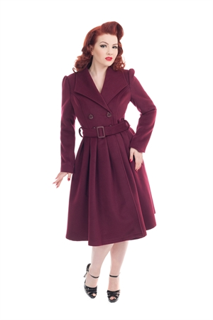 Hearts & Roses Wine Vintage Swing Coat