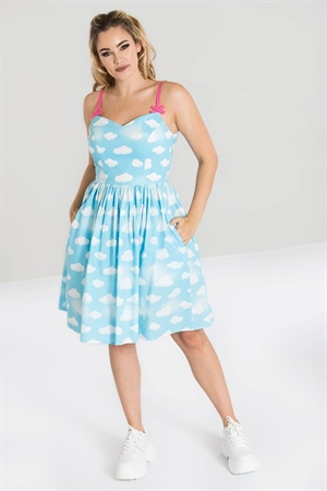 Hell Bunny Sky Blue Daydream Clouds Summer Mid Dress
