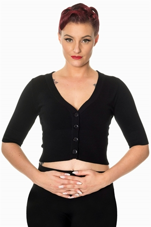 Banned Retro 50's Rockabilly Overload Plain V-Neck Top Pinup Vintage Cardigan in Black
