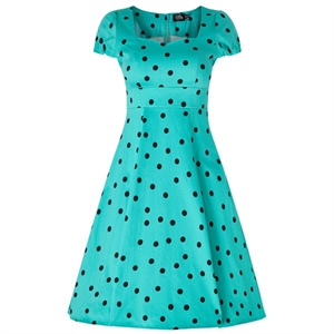 Dolly & Dotty Claudia Flirty 50's Polka Dot Dress In Bright Turquoise & Black