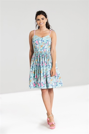 Hell Bunny Sky Blue Sakura Floral Swing Dress