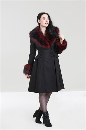 Hell Bunny Black Red Rock Noir Faux Fur Collar Coat
