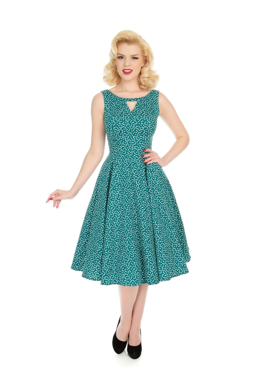 ed632a9667 Hearts   Roses Green White Small Polka Dot Swing Dress