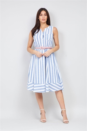 Izabel London 50's Vintage White Blue Striped Rockabilly Skater Dress