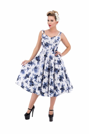 Hearts & Roses Vintage Blue Floral Blossom Rockabilly Swing Dress