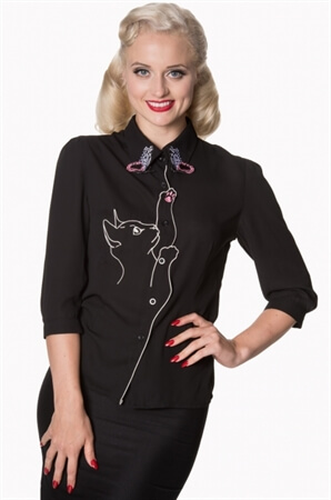 Dancing Days Black Snow Bird Cat Embroidered Blouse