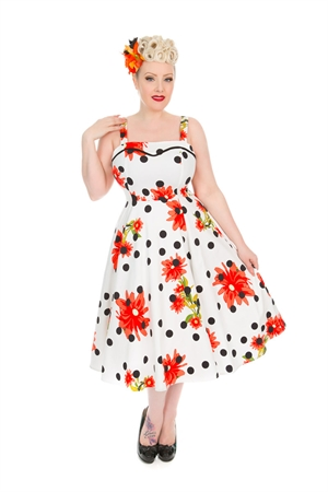 Hearts & Roses Daisy White Black Polka Dot Swing Dress