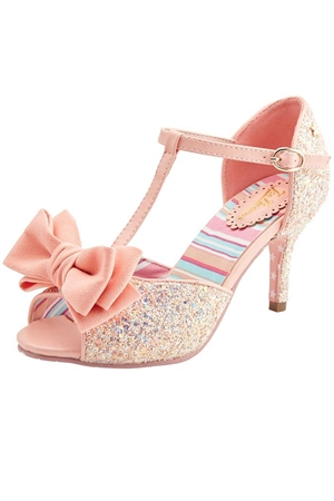 Joe Browns Couture Sugar Spice Peach Peep toe Glitter T-Bar Shoes