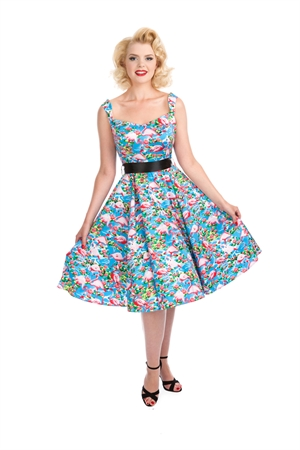 Hearts & Roses London 50'S Pretty Flamingo Swing Dress