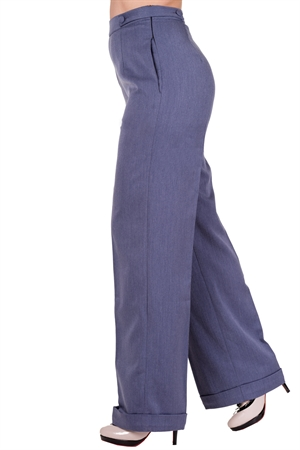 Banned 40s Wide-Leg Party On Classy Trouser In Denim