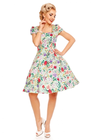 Dolly and Dotty Claudia Teal Green Floral Swing Dress