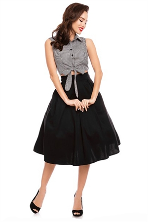 Dolly & Dotty Clementine Black Cropped Gingham Blouse