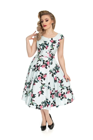 Hearts & Roses Vintage Blue Pink Roses Swing Dress