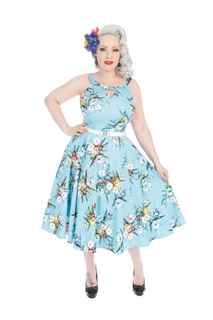Hearts & Roses Vintage Blue Lizzy Floral Swing Dress