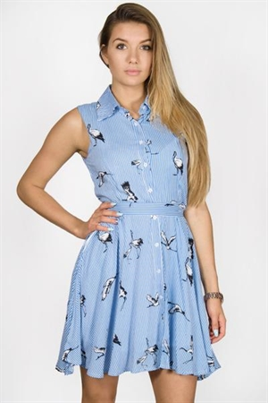 Sky Blue Stripe Flamingo Mini Dress