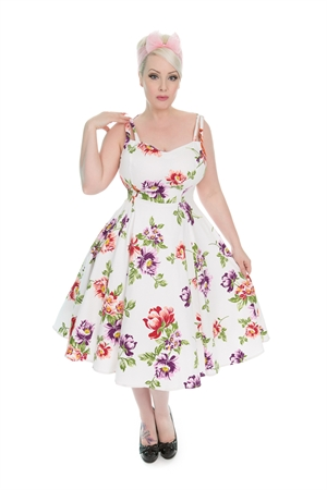 Hearts & Roses 1950's White Rose Floral Sundress