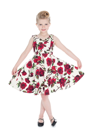 Hearts & Roses Girl's Ivory Red Rose Party Dress