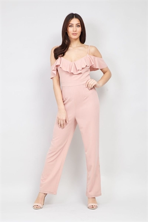 Izabel London 50's Dusky Pink Retro Cold Shoulder Pinup Jumpsuit