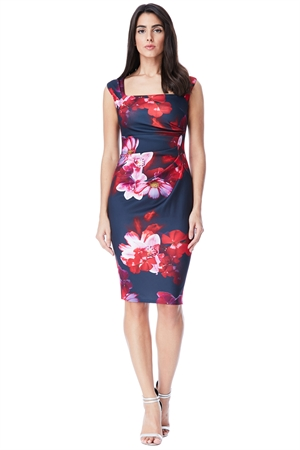 Navy Pink Floral Wiggle Dress