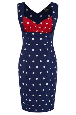 Dolly & Dotty Navy Blue polka Dot Georgette Wiggle Dress