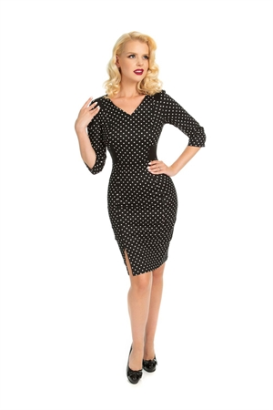 Hearts & Roses 50's Black White Polka Dot Rockabilly Wiggle Dress