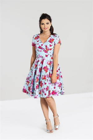 Hell Bunny Alyssa Sky Blue Floral Mid Dress