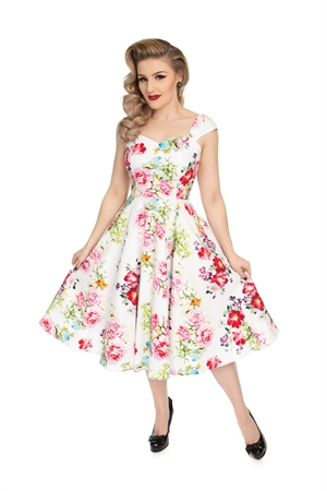 Hearts & Roses White Pink Roses Rockabilly Swing Dress