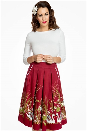 Lindy Bop Daniella Wine Swan Border Print Swing Skirt