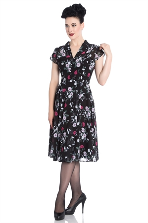 Hell Bunny Belleville 1940s Black White Floral Dress
