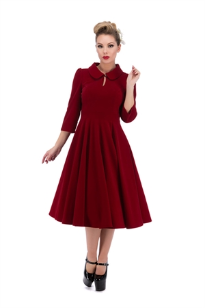 Hearts & Roses 50s Glamorous Red Velvet Tea Dress
