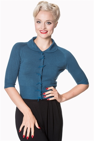 Banned Retro 40's April Bow Rockabilly Plain Peter Pan Collar Vintage Cardigan in Teal