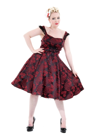 Hearts & Roses Gothic Red Black Rose Brocade Dress