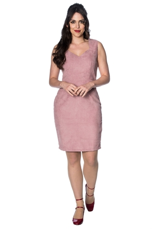 Banned Retro Shelly Pink Corduroy Wiggle Dress
