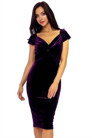 Purple Velvet Pencil Dress