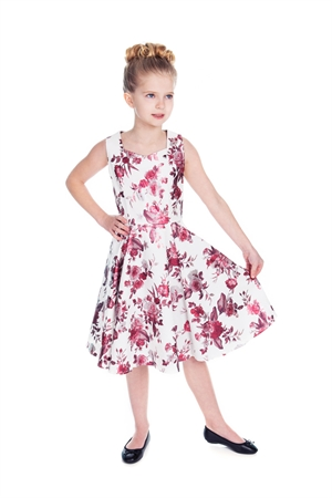 Girls White Pink Metallic Floral Swing Dress