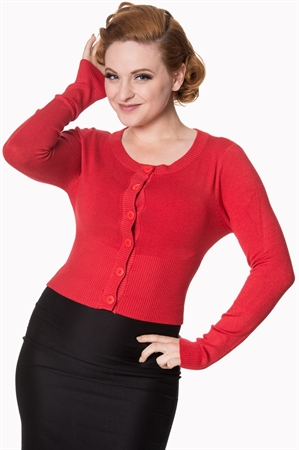 Banned Apparel Retro 50's Dolly Round Neck Rockabilly Pinup Vintage Cardigan in Red