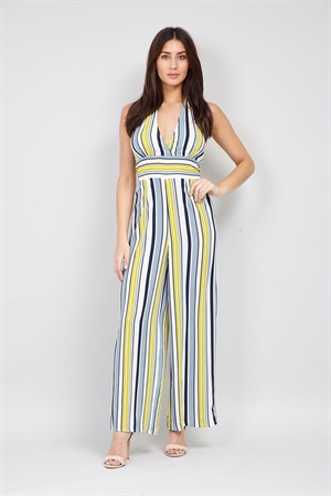 Yellow Blue Striped Vintage Halterneck 50's 60's Retro Jumpsuit