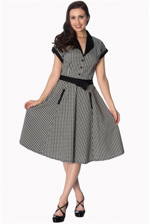 Banned Retro 50's Black White Gingham Swing Dress